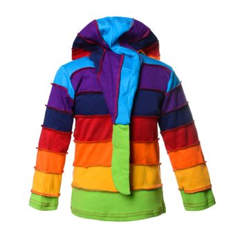 "Kunst und Magie  Kids ""Rainbow"" Colorful jacket with pointed hood patchwork Goa Psy Imp – Bild 2"