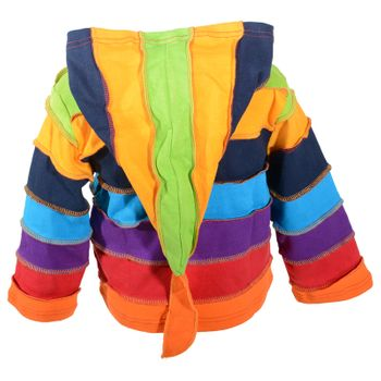"Kunst und Magie  Kids ""Rainbow"" Colorful jacket with pointed hood patchwork Goa Psy Imp – Bild 4"