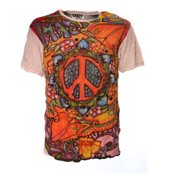 Kunst und Magie Sure 70er Retro T-Shirt with Peace Symbol – Bild 2