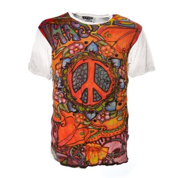 Kunst und Magie Sure 70er Retro T-Shirt with Peace Symbol – Bild 6