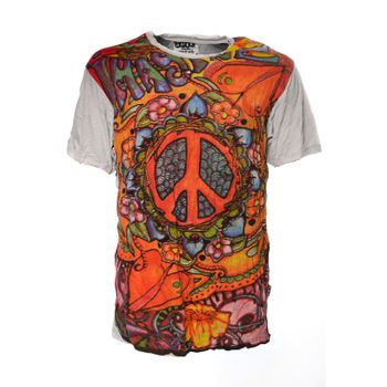 Kunst und Magie Sure 70er Retro T-Shirt with Peace Symbol – Bild 4