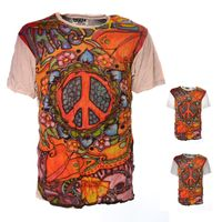 Kunst und Magie Sure 70er Retro T-Shirt with Peace Symbol 001