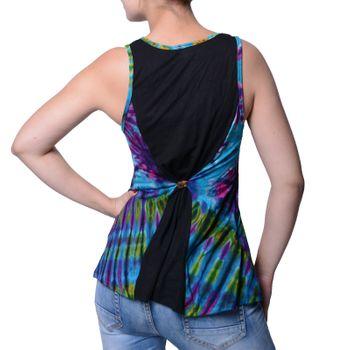 Kunst und Magie Damen Buntes Tie Dye Batik Oberteil Trägertop T-Shirt Tank-Top Hippie Goa – Bild 4