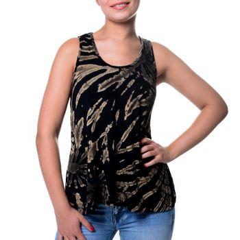 Kunst und Magie Damen Buntes Tie Dye Batik Oberteil Trägertop T-Shirt Tank-Top Hippie Goa