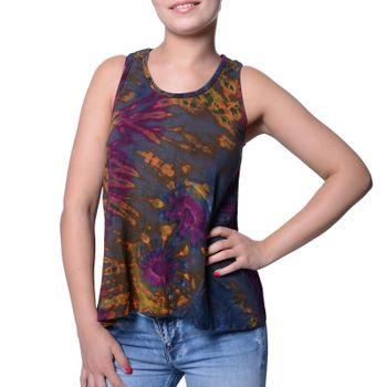 Kunst und Magie Damen Buntes Tie Dye Batik Oberteil Trägertop T-Shirt Tank-Top Hippie Goa – Bild 5