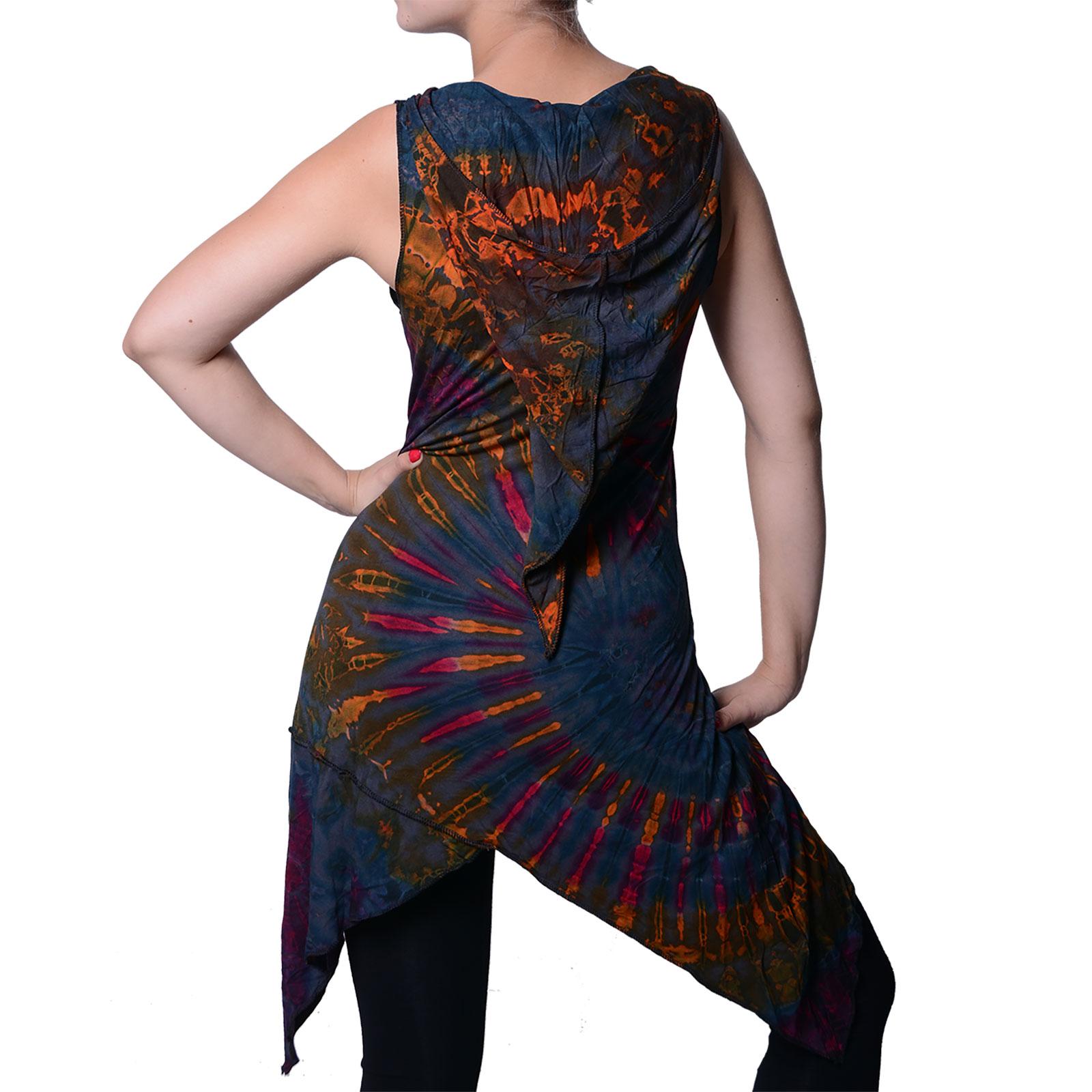 Tunika mit Zipfelkapuze Buntes Tie Dye Batik Hippie Goa Kapuzenkleid Damen  Minikleid