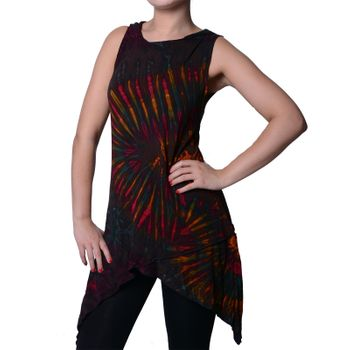Tunika with Elfin Hood Colorful Tie Dye Batik Hippie Goa Women Mini Dress – Bild 5