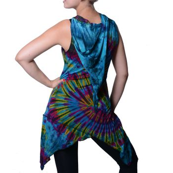 Tunika with Elfin Hood Colorful Tie Dye Batik Hippie Goa Women Mini Dress – Bild 10