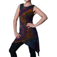 Tunika mit Zipfelkapuze Buntes Tie Dye Batik Hippie Goa Kapuzenkleid Damen Minikleid 001
