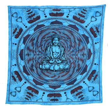 Kunst und Magie Tagesdecke Wandbehang Buddha Meditation Tuch Goa  ca. 210 x 230 cm – Bild 3