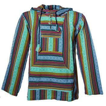 Kunst und Magie Herren Nepal Baja Hoodie Pullover Sweatshirt Poncho  – Bild 7