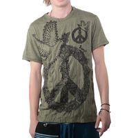 """Kunst und Magie Sure Buntes 70er Retro T-Shirt  """"Peace mit Friedenstaube"""" Hippie Goa 001"""
