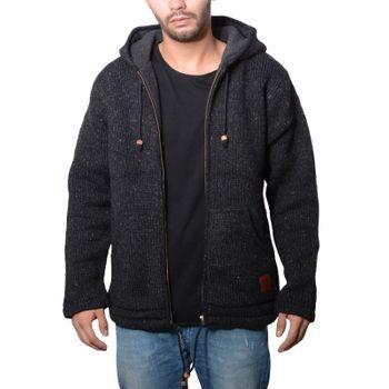 Herren Strickjacke Wolle Jacke mit warmen Fleecefutter  und Kapuze von Kunst und Magie – Bild 9
