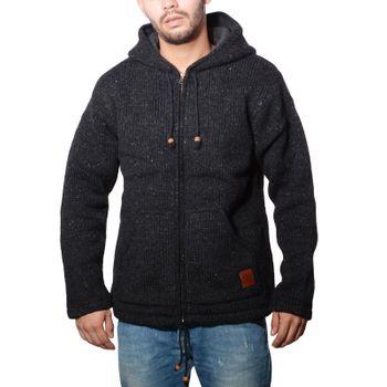 Herren Strickjacke Wolle Jacke mit warmen Fleecefutter  und Kapuze von Kunst und Magie – Bild 8