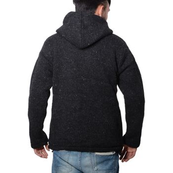 Herren Strickjacke Wolle Jacke mit warmen Fleecefutter  und Kapuze von Kunst und Magie – Bild 11