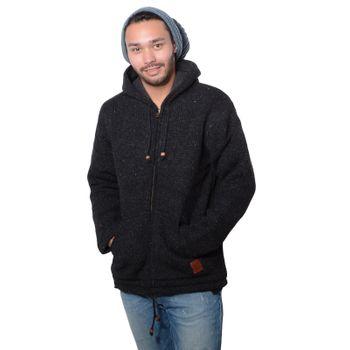 Herren Strickjacke Wolle Jacke mit warmen Fleecefutter  und Kapuze von Kunst und Magie – Bild 10
