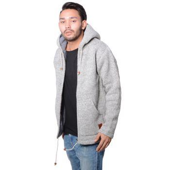 Herren Strickjacke Wolle Jacke mit warmen Fleecefutter  und Kapuze von Kunst und Magie – Bild 6
