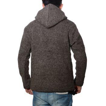Herren Strickjacke Wolle Jacke mit warmen Fleecefutter  und Kapuze von Kunst und Magie – Bild 4