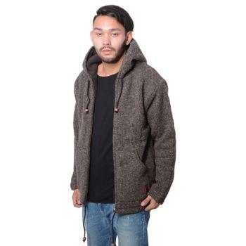 Herren Strickjacke Wolle Jacke mit warmen Fleecefutter  und Kapuze von Kunst und Magie – Bild 3