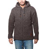 Herren Strickjacke Wolle Jacke mit warmen Fleecefutter  und Kapuze von Kunst und Magie 001