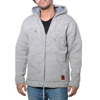 Men cardigan wool jacket with warm fleece lining and hood of Kunst und Magie