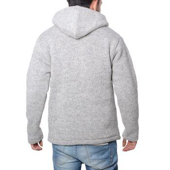 Men cardigan wool jacket with warm fleece lining and hood of Kunst und Magie – Bild 3