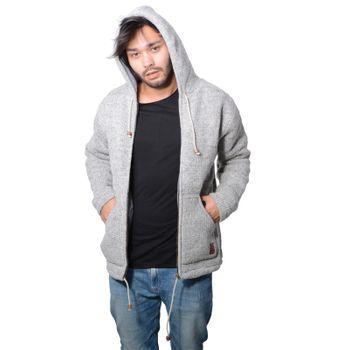Men cardigan wool jacket with warm fleece lining and hood of Kunst und Magie – Bild 2