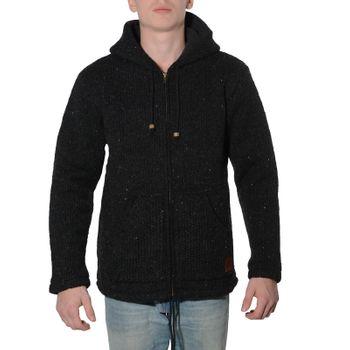 Men cardigan wool jacket with warm fleece lining and hood of Kunst und Magie – Bild 4