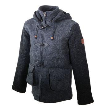 Kunst und Magie Herren Loden Jacke mit gestrickten Ärmeln und abnehmbarer Kapuze  – Bild 2