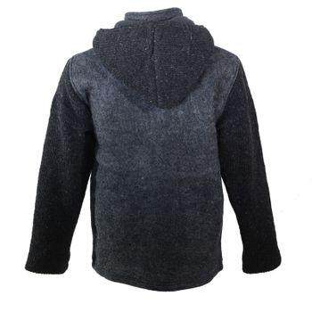 Kunst und Magie Herren Loden Jacke mit gestrickten Ärmeln und abnehmbarer Kapuze  – Bild 9