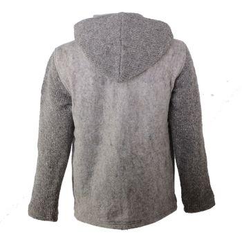 Kunst und Magie Herren Loden Jacke mit gestrickten Ärmeln und abnehmbarer Kapuze  – Bild 10