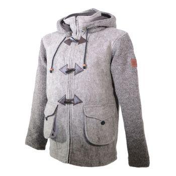Kunst und Magie Herren Loden Jacke mit gestrickten Ärmeln und abnehmbarer Kapuze