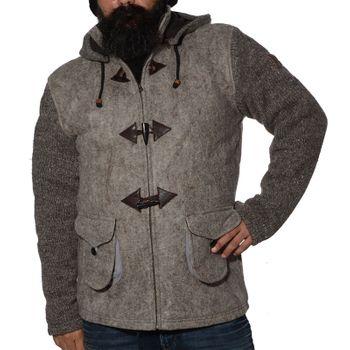 Kunst und Magie Herren Loden Jacke mit gestrickten Ärmeln und abnehmbarer Kapuze  – Bild 6