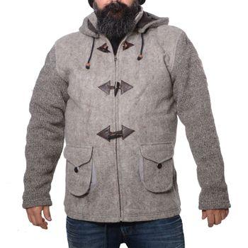 Kunst und Magie Herren Loden Jacke mit gestrickten Ärmeln und abnehmbarer Kapuze  – Bild 7