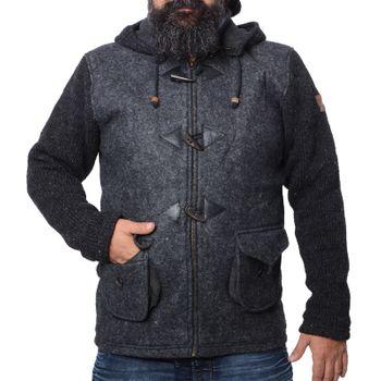 Kunst und Magie Herren Loden Jacke mit gestrickten Ärmeln und abnehmbarer Kapuze  – Bild 5