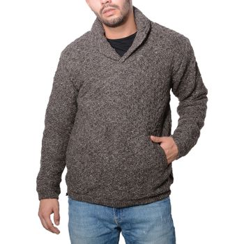 Men knit sweater wool sweater with shawl collar and warm fleece lining of Kunst und Magie – Bild 1