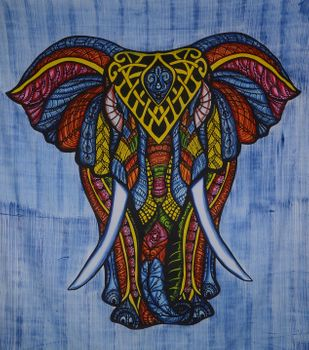 Kunst und Magie Wandbehang Elefant UV-Aktives Dekotuch Glow in the dark 230 x 210 cm  – Bild 2