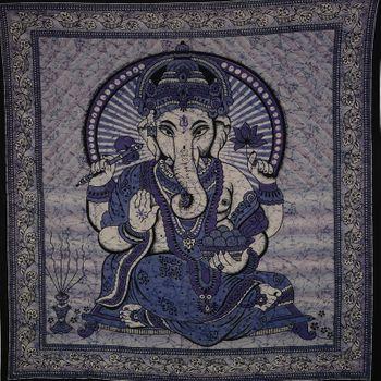 Kunst und Magie Große Tagesdecke Wandbehang Tuch Goa ca. 220 x 210 cm – Bild 3