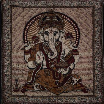 Ganesha Dekotuch Große Tagesdecke Wandbehang Tuch Goa ca. 220 x 210 cm – Bild 7