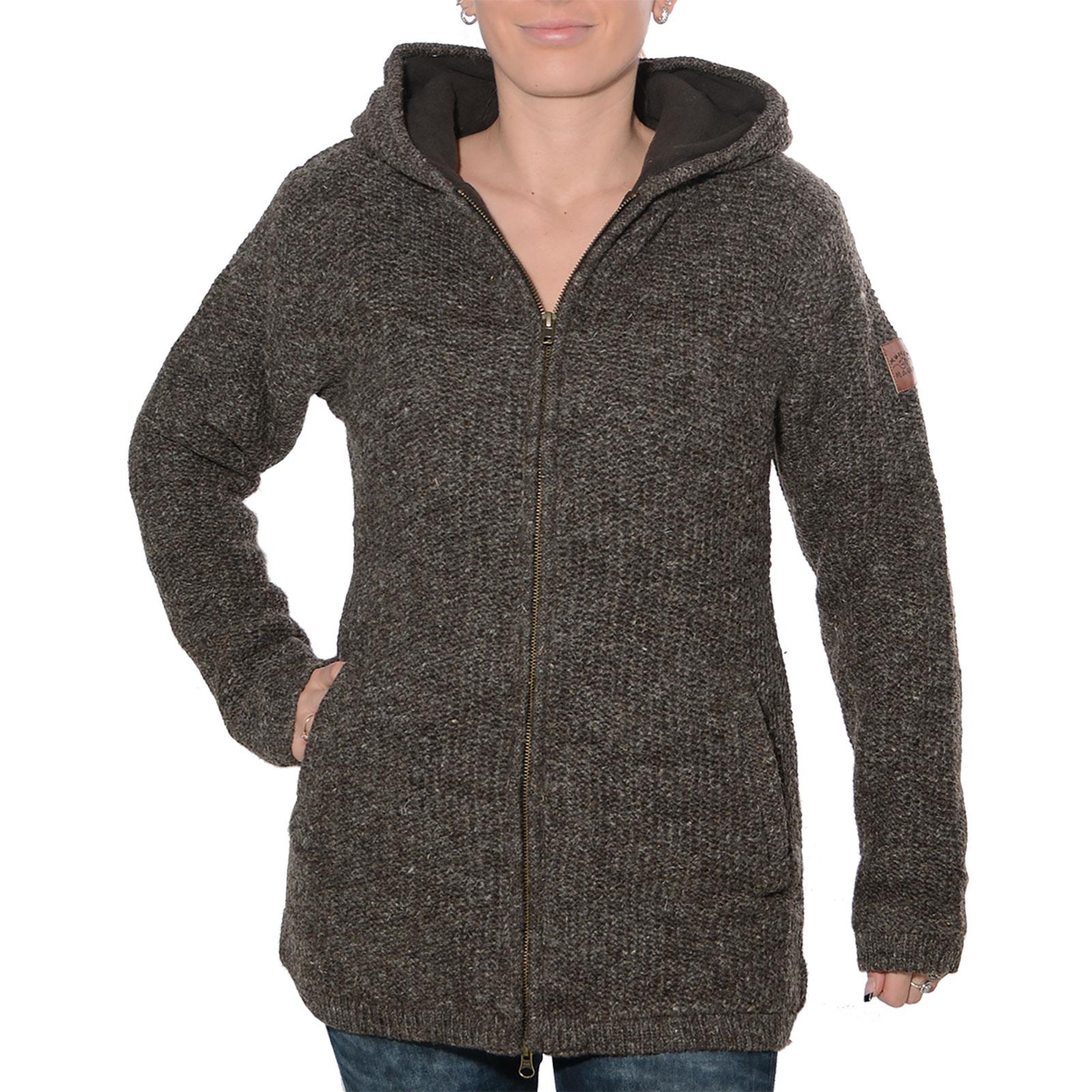 Genieße den kostenlosen Versand Trennschuhe Geschicktes Design Klassische Damen Strickjacke Wolle Jacke mit Fleecefutter und Kapuze von  Kunst und Magie
