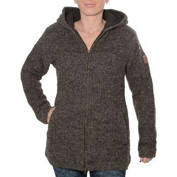 Klassische Damen Strickjacke Wolle Jacke mit Fleecefutter und Kapuze von Kunst und Magie