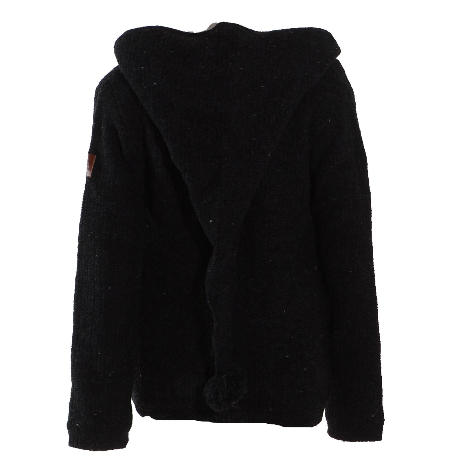 competitive price c8b67 82dab Kunst und Magie Klassische Damen Strickjacke Wolle Jacke mit Fleecefutter  und Zipfelkapuze