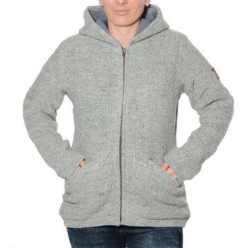 Kunst und Magie Klassische Damen Strickjacke Wolle Jacke mit Fleecefutter und Zipfelkapuze  – Bild 6