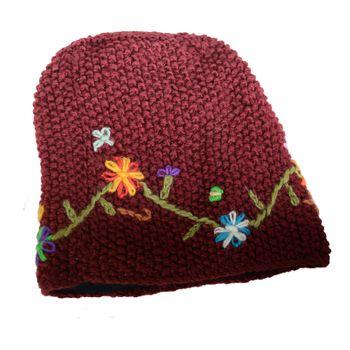 Kunst und Magie Damen Beanie Strickmütze aus Wolle mit Blumenstickerei und Fleecefutter  – Bild 7