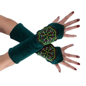 Velvet Arm Warmers with Decorative Mandala embroidery – Bild 5