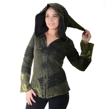 Psy Goa Cut work  Jacket Elfin Hood  Hippie Jacket  – Bild 1