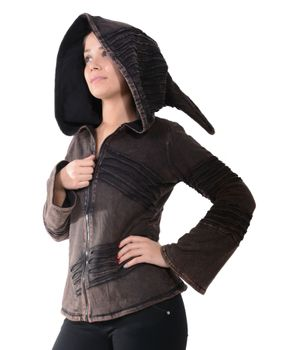 Psy Goa Cut work  Jacket Elfin Hood  Hippie Jacket  – Bild 17