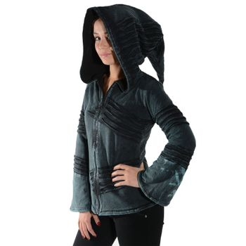Psy Goa Cut work  Jacket Elfin Hood  Hippie Jacket  – Bild 12