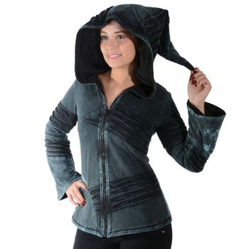 Psy Goa Cut work  Jacket Elfin Hood  Hippie Jacket  – Bild 13