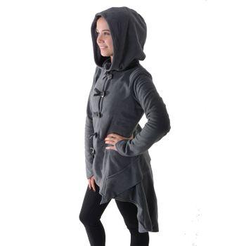Kunst und Magie Women Fleece Hooded  Boho Frock Coat – Bild 7